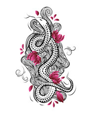 China style tattoo design with snake, flowers and waves.