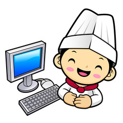 Funny Chef Character and Personal computer.  Vector illustration isolated on white background.