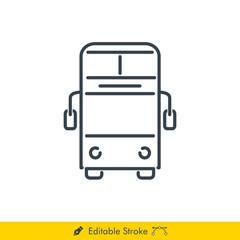 Bus (Double Decker) Icon / Vector - In Line / Stroke Design with Editable Stroke