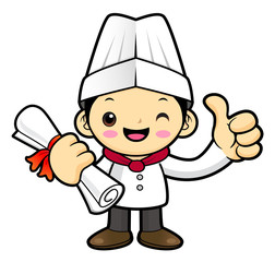 Funny Chef Character Academic graduation. Vector illustration isolated on white background.