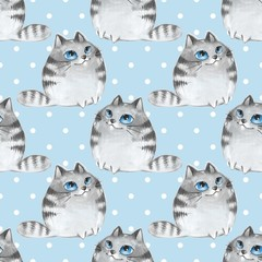 Watercolor cartoon cats, blue seamless pattern