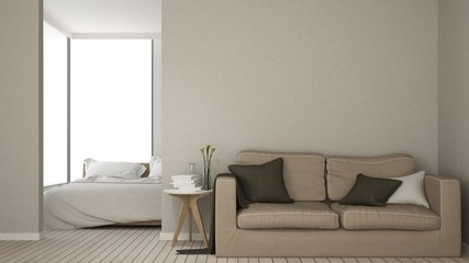 The interior empty space relax space furniture and background decoration minimal - 3d rendering