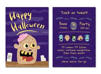 Halloween party invitation with happy zombie head