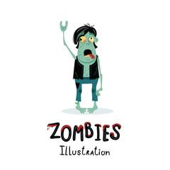 Punk rocker zombie character in cartoon style