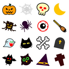 Collection set of Colorful isolated Silhouettes Halloween icons on white background for graphic illustrator design