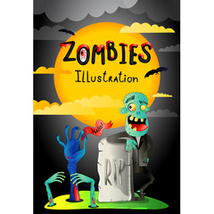 Halloween party banner with zombie in cemetery