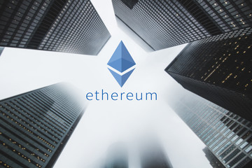 """Concept of  """"Ethereum"""",  a Cryptocurrency secured chain , Digital money"""