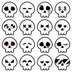 Simple line of Halloween Skeleton head icon in variety emotion for illustrator vector design concept