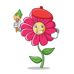 Artist pink flower character cartoon