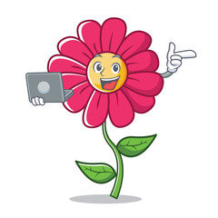 With laptop pink flower character cartoon