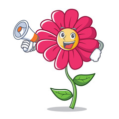 With megaphone pink flower character cartoon