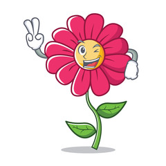 Two finger pink flower character cartoon