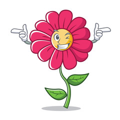 Wink pink flower character cartoon