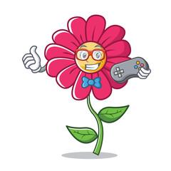 Gamer pink flower character cartoon