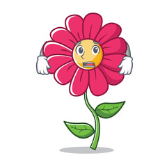 Afraid pink flower character cartoon