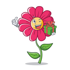 With gift pink flower character cartoon