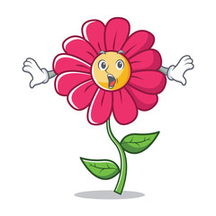 Surprised pink flower character cartoon