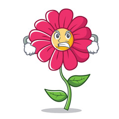 Angry pink flower character cartoon
