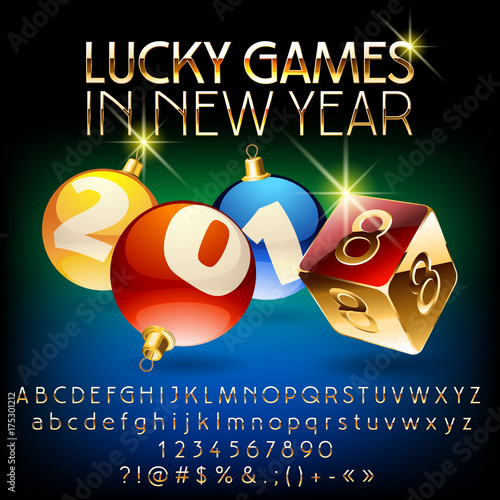 Vector Chic Casino Greeting Card Lucky Games In New Year 2018 With Set Of Letters