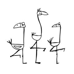 Flamingo, sketch for your design