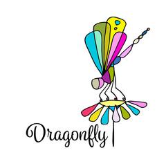Art dragonfly, sketch for your design