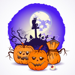 Halloween vector illustration with pumpkins heads.