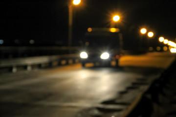Bokeh blurred car lights at the night