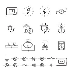 Electrical signs and quipment. editable stroke. vector illustration.