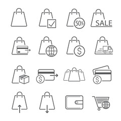 Bag icon designed for trading. Used for website or article. Editable Stroke. vector illustration.