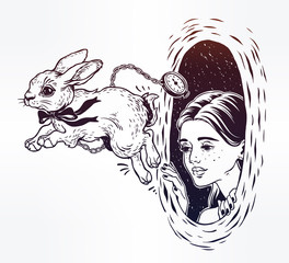 Alice in Wonderland. Chasing the white rabbit.