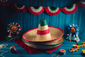 High contrast image of mexican hats and a serape on a wooden background