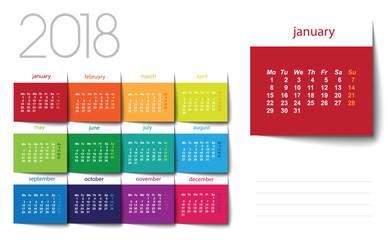 2018 calendar. Color post it