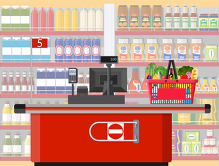 Supermarket store interior with goods.