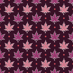 Maple Leaves, Autumn pattern, seamless vector illustration