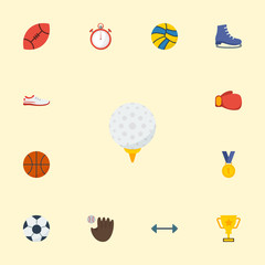 Flat Icons Basket, Ice Boot, Trophy And Other Vector Elements. Set Of Sport Flat Icons Symbols Also Includes Kettlebells, Basket, Worn Objects.