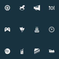 Vector Illustration Set Of Simple Birthday Icons. Elements Train, Dj, Cutlery And Other Synonyms Table, Cake And Vinyl.