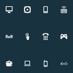 Vector Illustration Set Of Simple Smart Icons. Elements Smartphone, Multimedia Center, Monitor And Other Synonyms Joystick, Controller And Device.