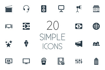 Vector Illustration Set Of Simple Cinema Icons. Elements Play, Speaker, Action And Other Synonyms Sundae, Film And Director.