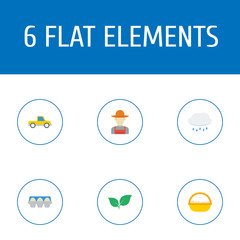 Flat Icons Container, Pickup, Tray Of Eggs And Other Vector Elements. Set Of Agricultural Flat Icons Symbols Also Includes Egg, Grower, Pickup Objects.