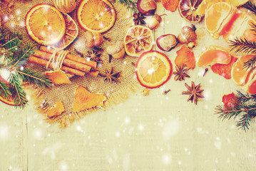 Christmas background with tangerines. Selective focus.