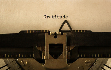 Text Gratitude typed on retro typewriter