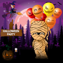 Halloween Party Design template with mummy with balloons
