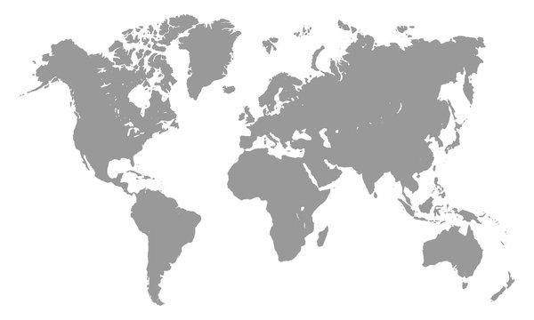 Grey world map template isolated on white background. Vector illustation