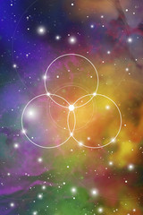 Flower of life - the interlocking circles ancient symbol on outer space background. Sacred geometry. The formula of nature.