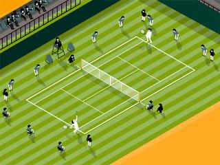 illustration vector info graphic of tennis grass court match, tennis sport info graphic design concept