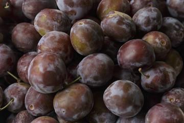 Vegan food. Fresh plum isolated.