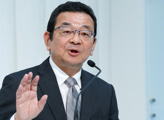 Honda Motor CEO Takahiro Hachigo speaks at a news conference in Tokyo