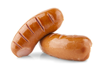 Sausages isolated on the white background