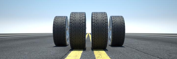 Reifen stehen auf Autobahn oder Straße