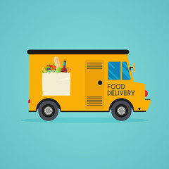 Food delivery. Meal-kit delivery service. Online ordering of food, grocery delivery, e-commerce. Flat design modern vector illustration concept.